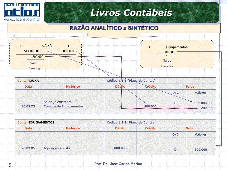 Prof. Dr. José Carlos Marion 5 RAZÃO ANALÍTICO x SINTÉTICO Livros Contábeis CAIXA SI 1.000.000800.000 200.000 Saldo Devedor DC Equipamentos 800.000 DC