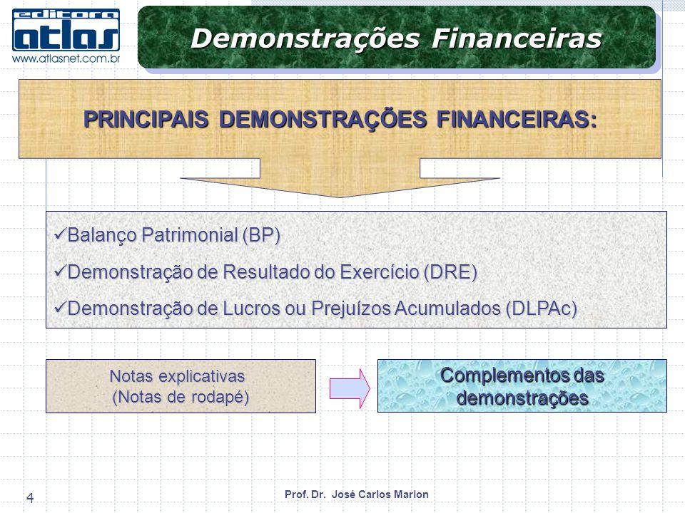 Prof. Dr. José Carlos Marion 4 Balanço Patrimonial (BP) Balanço Patrimonial (BP) Demonstração de Resultado do Exercício (DRE) Demonstração de Resultad