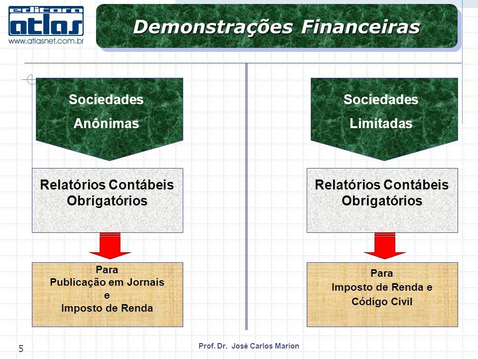 Prof. Dr. José Carlos Marion 5 Demonstrações Financeiras Relatórios Contábeis Obrigatórios Sociedades Anônimas Para Publicação em Jornais e Imposto de