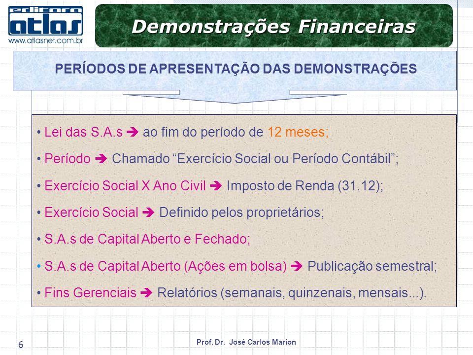 Prof. Dr. José Carlos Marion 6 Lei das S.A.s ao fim do período de 12 meses; Período Chamado Exercício Social ou Período Contábil; Exercício Social X A