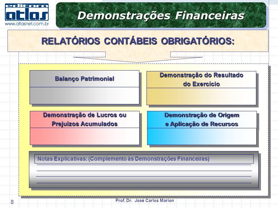 Prof. Dr. José Carlos Marion 8 Demonstrações Financeiras Balanço Patrimonial Demonstração do Resultado do Exercício Demonstração do Resultado do Exerc