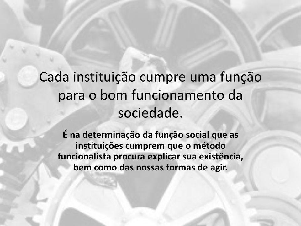 Cada instituição cumpre uma função para o bom funcionamento da sociedade. É na determinação da função social que as instituições cumprem que o método