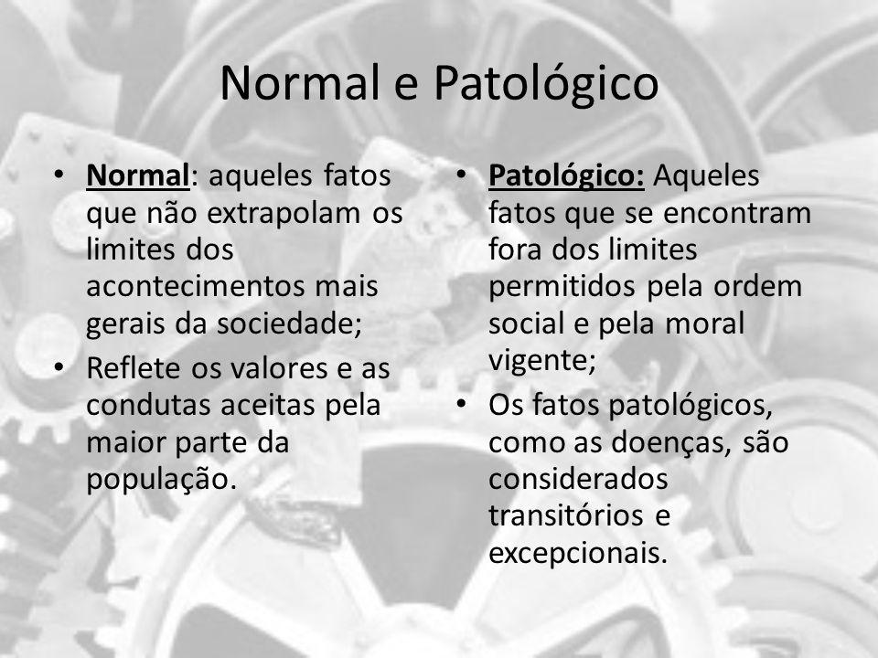 Normal e Patológico Normal: aqueles fatos que não extrapolam os limites dos acontecimentos mais gerais da sociedade; Reflete os valores e as condutas