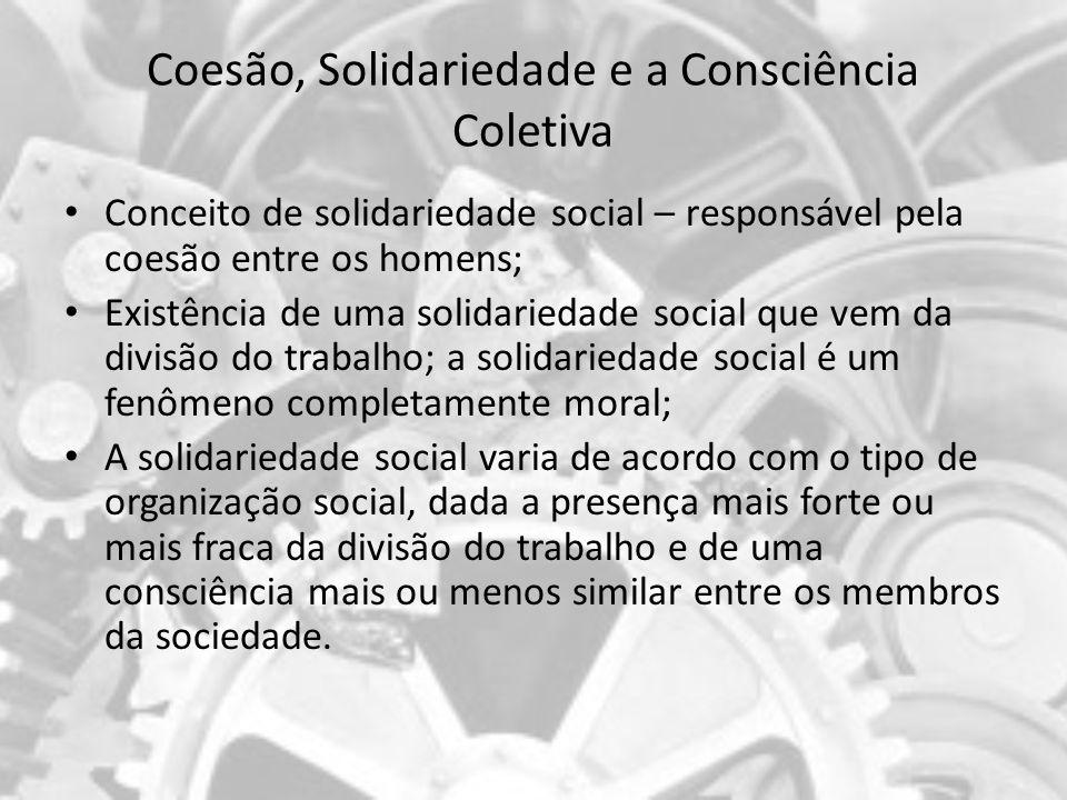 Coesão, Solidariedade e a Consciência Coletiva Conceito de solidariedade social – responsável pela coesão entre os homens; Existência de uma solidarie