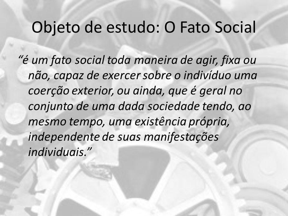 Objeto de estudo da sociologia O FATO SOCIAL É: 1) GERAL2) EXTERIOR 3) COERCITIVO