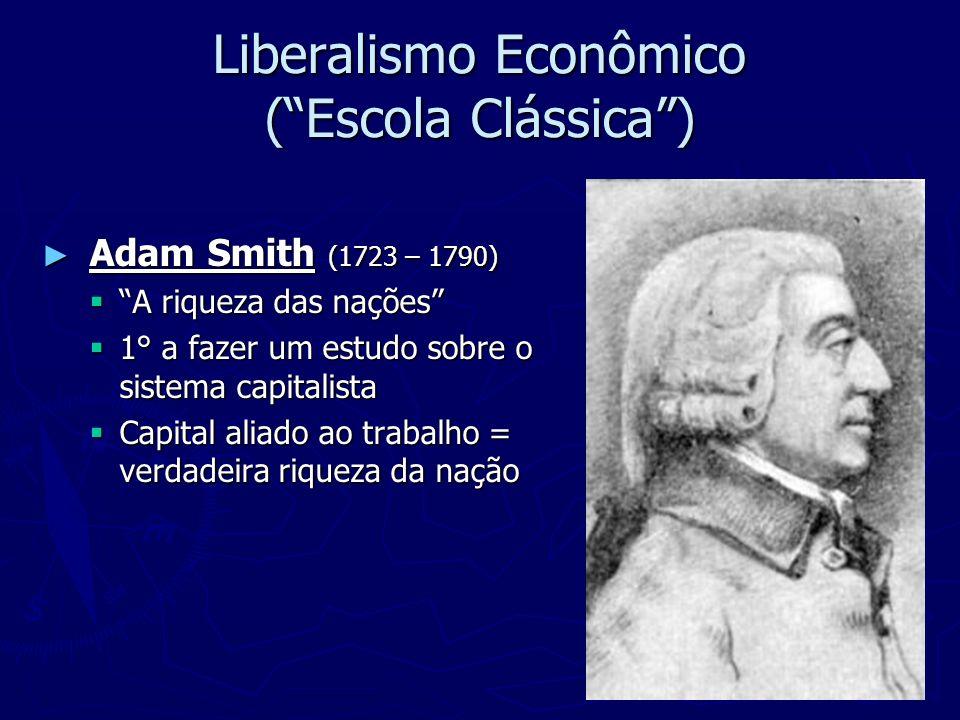 Liberalismo Econômico (Escola Clássica) Adam Smith (1723 – 1790) Adam Smith (1723 – 1790) A riqueza das nações A riqueza das nações 1° a fazer um estu