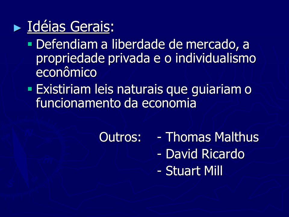 Idéias Gerais: Idéias Gerais: Defendiam a liberdade de mercado, a propriedade privada e o individualismo econômico Defendiam a liberdade de mercado, a