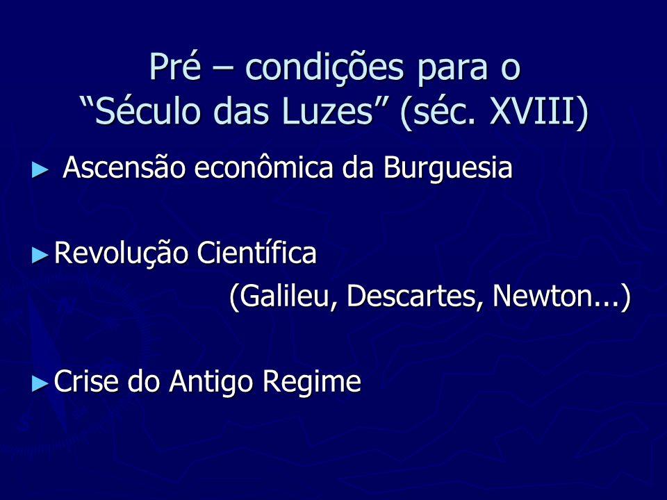 Pré – condições para o Século das Luzes (séc. XVIII) Ascensão econômica da Burguesia Ascensão econômica da Burguesia Revolução Científica Revolução Ci