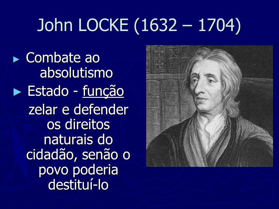 John LOCKE (1632 – 1704) Combate ao absolutismo Combate ao absolutismo Estado - função Estado - função zelar e defender os direitos naturais do cidadã