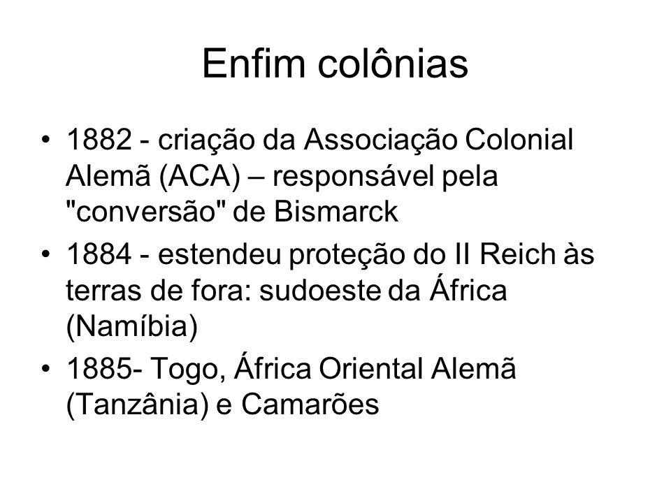 Enfim colônias 1882 - criação da Associação Colonial Alemã (ACA) – responsável pela
