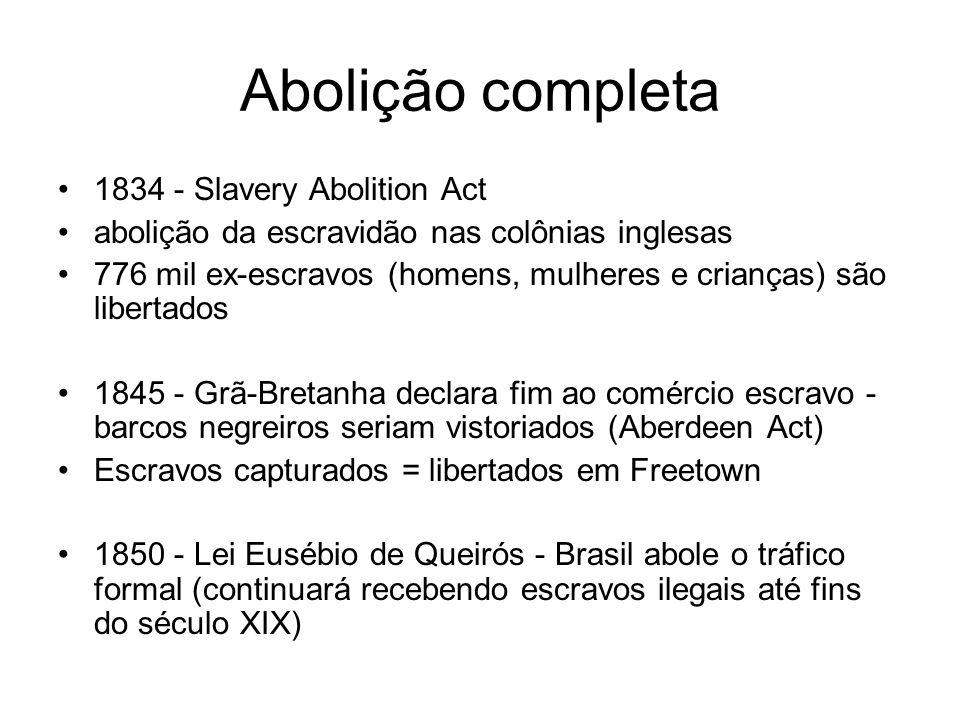 Abolição completa 1834 - Slavery Abolition Act abolição da escravidão nas colônias inglesas 776 mil ex-escravos (homens, mulheres e crianças) são libe