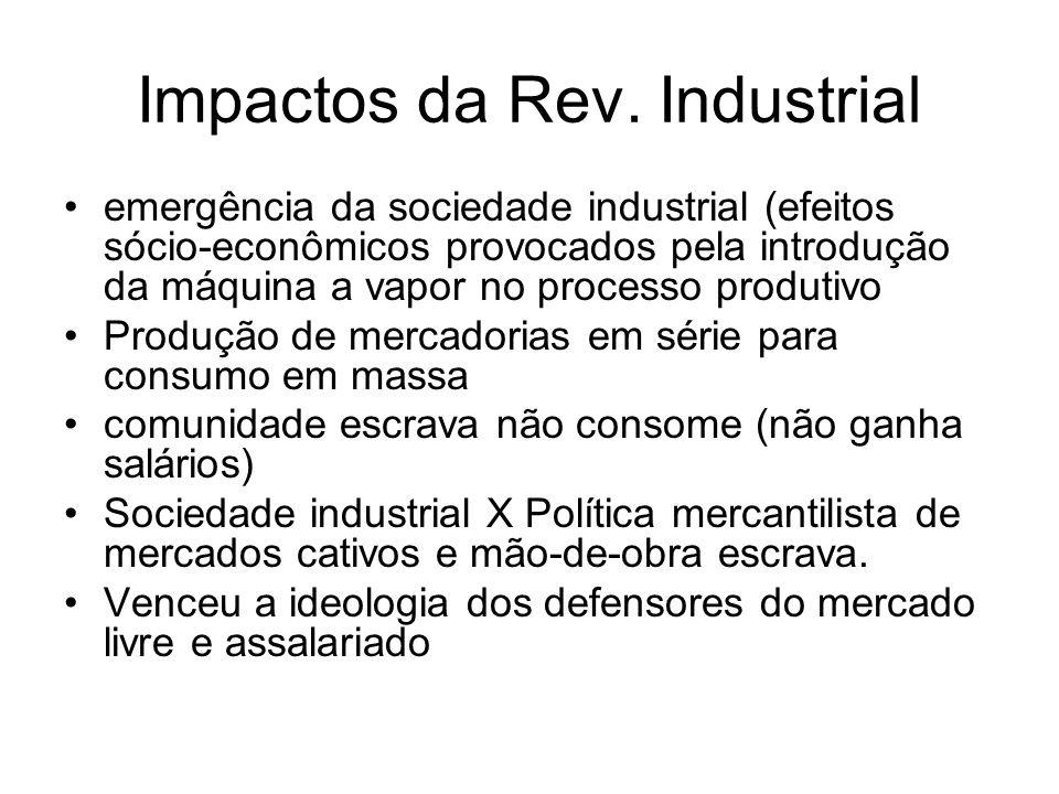 Impactos da Rev. Industrial emergência da sociedade industrial (efeitos sócio-econômicos provocados pela introdução da máquina a vapor no processo pro