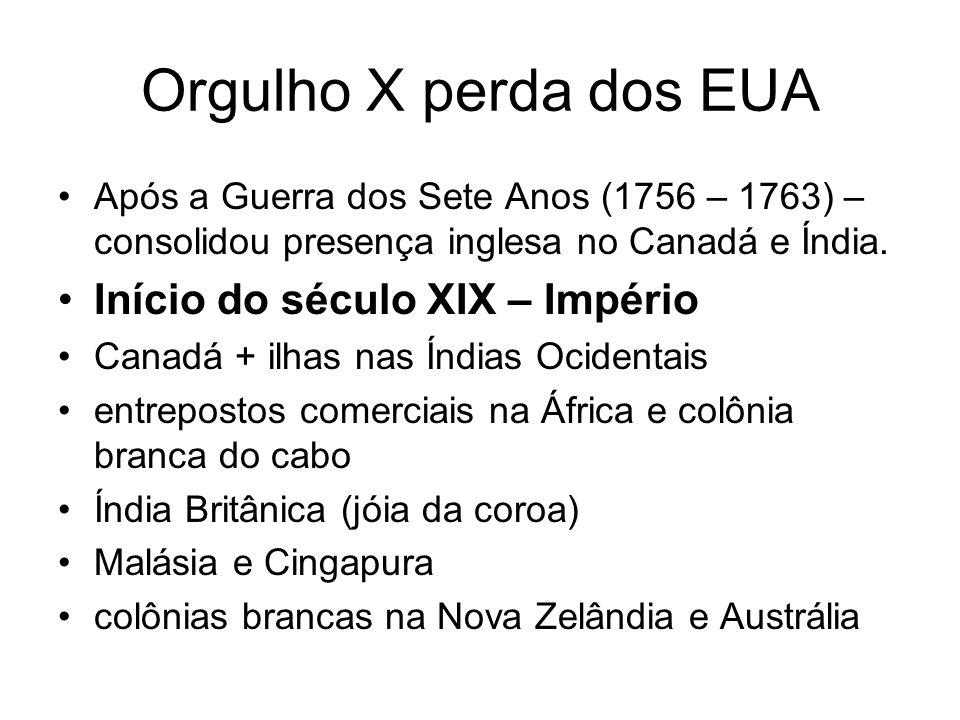Orgulho X perda dos EUA Após a Guerra dos Sete Anos (1756 – 1763) – consolidou presença inglesa no Canadá e Índia. Início do século XIX – Império Cana