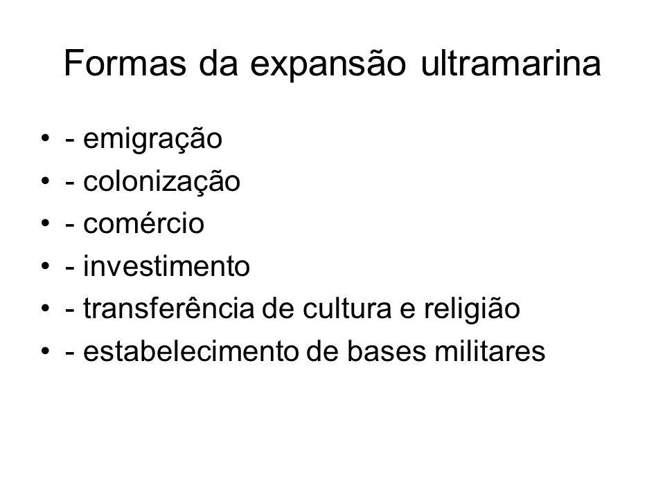 Formas da expansão ultramarina - emigração - colonização - comércio - investimento - transferência de cultura e religião - estabelecimento de bases mi