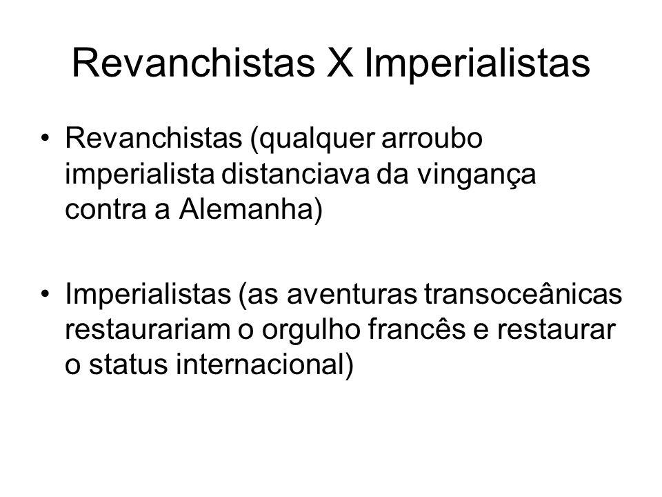 Revanchistas X Imperialistas Revanchistas (qualquer arroubo imperialista distanciava da vingança contra a Alemanha) Imperialistas (as aventuras transo