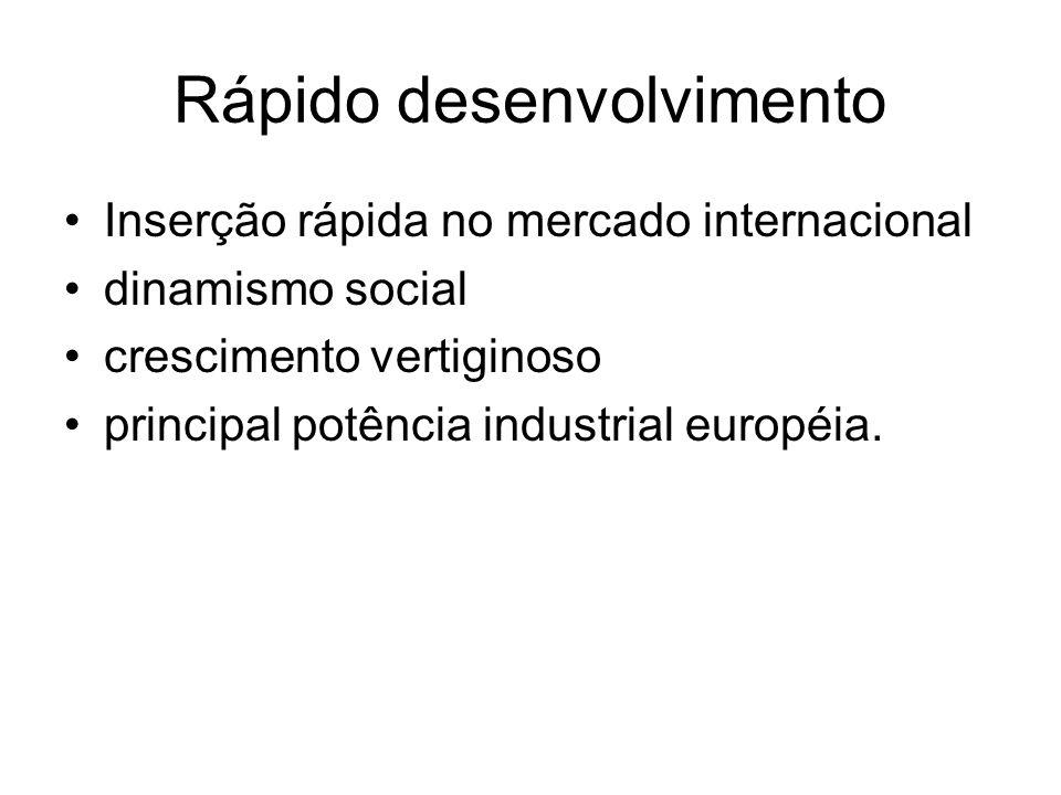 Rápido desenvolvimento Inserção rápida no mercado internacional dinamismo social crescimento vertiginoso principal potência industrial européia.