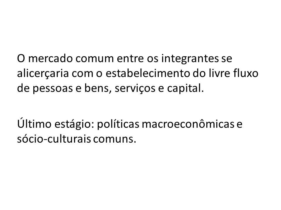 O mercado comum entre os integrantes se alicerçaria com o estabelecimento do livre fluxo de pessoas e bens, serviços e capital. Último estágio: políti