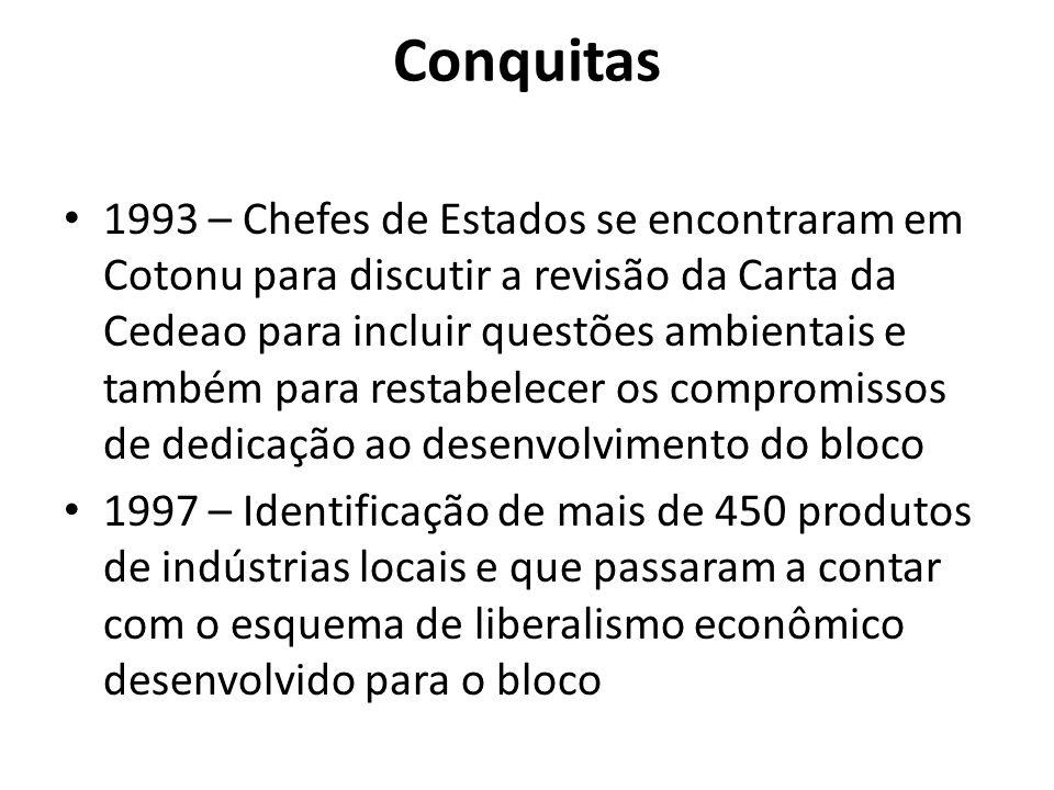 Conquitas 1993 – Chefes de Estados se encontraram em Cotonu para discutir a revisão da Carta da Cedeao para incluir questões ambientais e também para