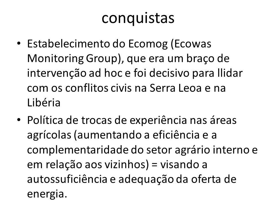 conquistas Estabelecimento do Ecomog (Ecowas Monitoring Group), que era um braço de intervenção ad hoc e foi decisivo para llidar com os conflitos civ