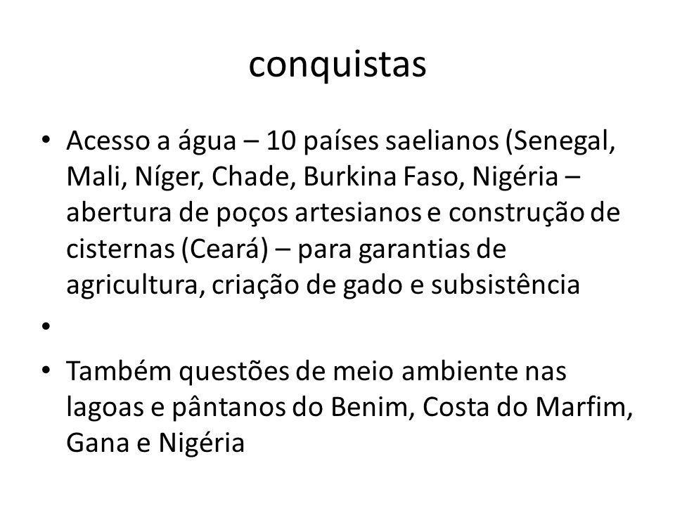 conquistas Acesso a água – 10 países saelianos (Senegal, Mali, Níger, Chade, Burkina Faso, Nigéria – abertura de poços artesianos e construção de cist