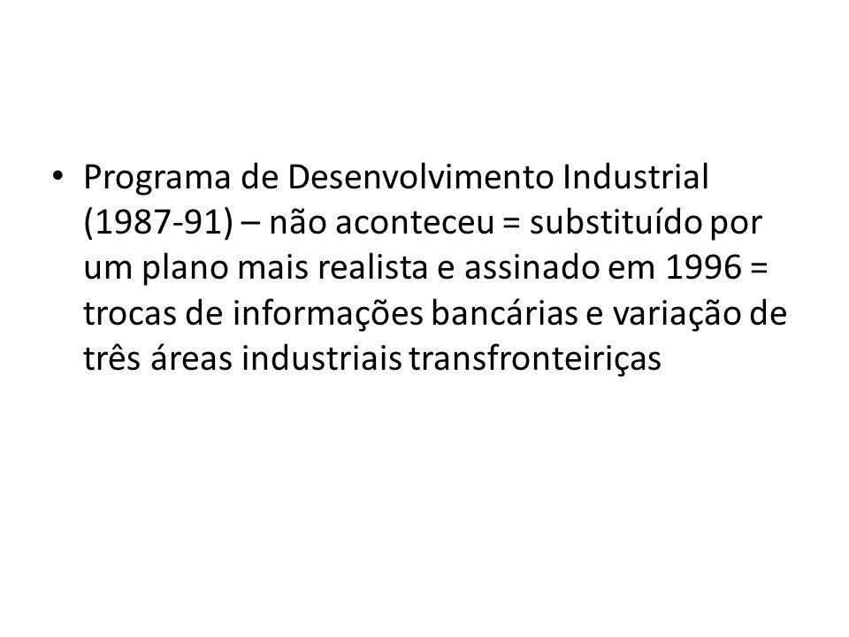 Programa de Desenvolvimento Industrial (1987-91) – não aconteceu = substituído por um plano mais realista e assinado em 1996 = trocas de informações b