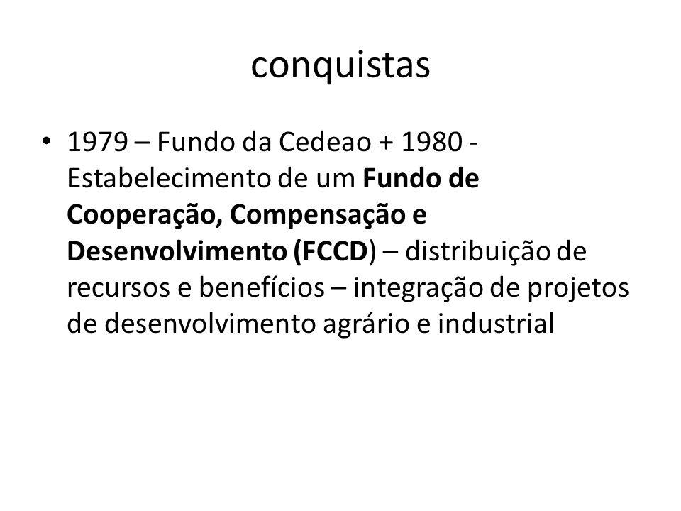 conquistas 1979 – Fundo da Cedeao + 1980 - Estabelecimento de um Fundo de Cooperação, Compensação e Desenvolvimento (FCCD) – distribuição de recursos