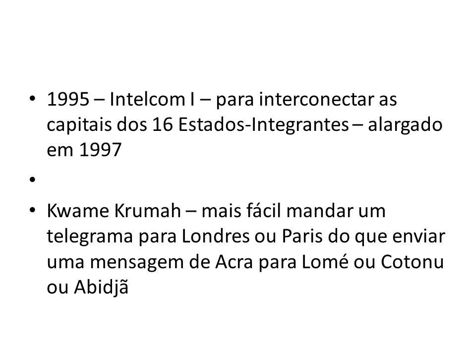 1995 – Intelcom I – para interconectar as capitais dos 16 Estados-Integrantes – alargado em 1997 Kwame Krumah – mais fácil mandar um telegrama para Lo