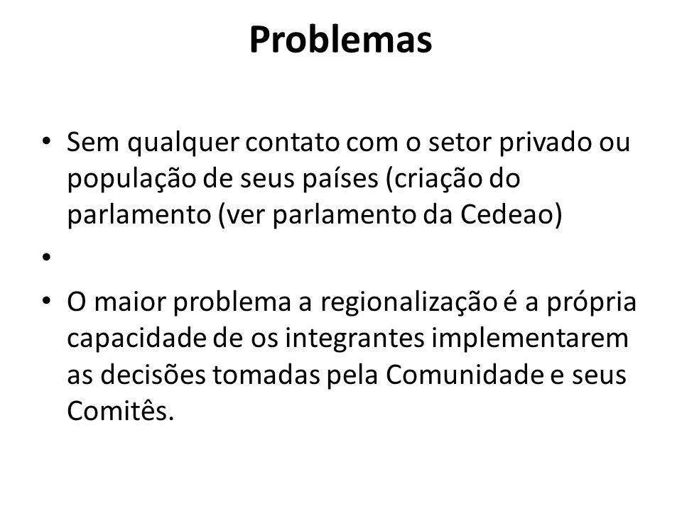 Problemas Sem qualquer contato com o setor privado ou população de seus países (criação do parlamento (ver parlamento da Cedeao) O maior problema a re