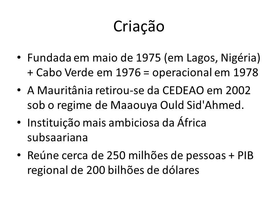 Criação Fundada em maio de 1975 (em Lagos, Nigéria) + Cabo Verde em 1976 = operacional em 1978 A Mauritânia retirou-se da CEDEAO em 2002 sob o regime