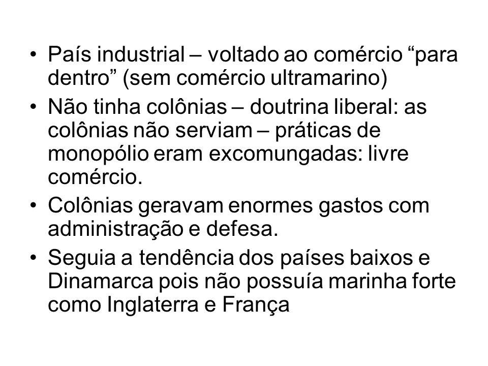 País industrial – voltado ao comércio para dentro (sem comércio ultramarino) Não tinha colônias – doutrina liberal: as colônias não serviam – práticas
