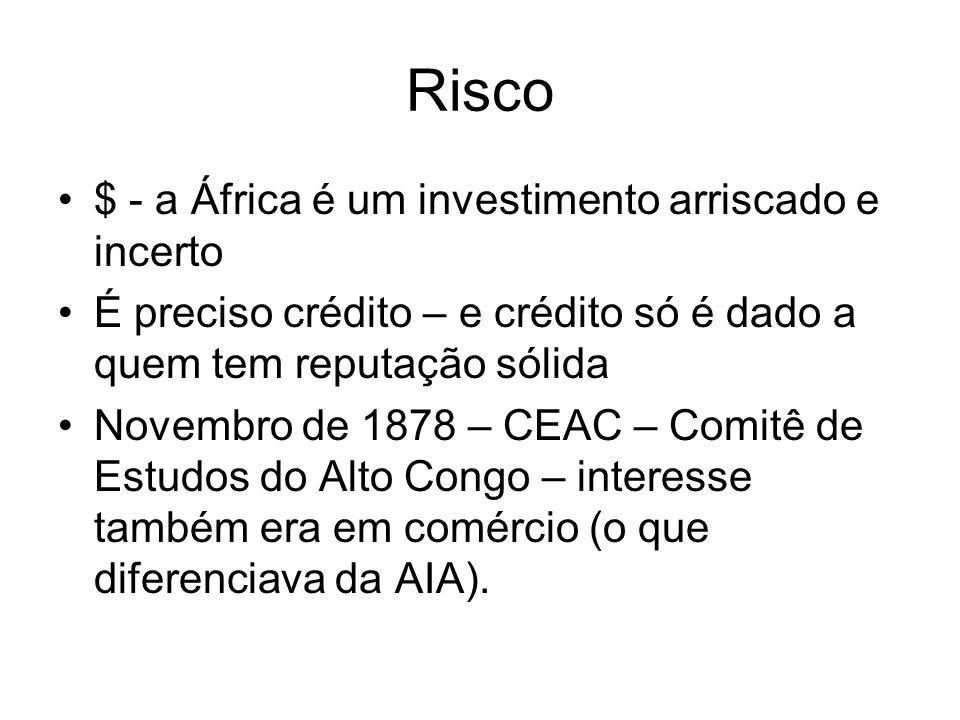 Risco $ - a África é um investimento arriscado e incerto É preciso crédito – e crédito só é dado a quem tem reputação sólida Novembro de 1878 – CEAC –