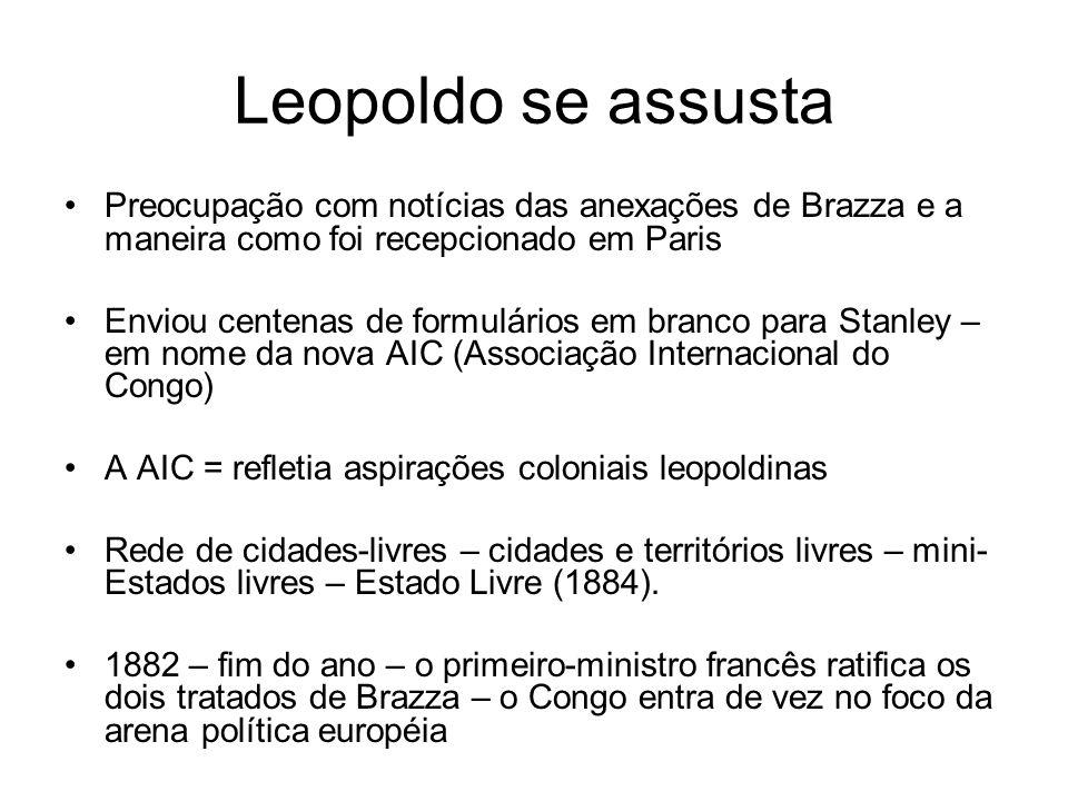 Leopoldo se assusta Preocupação com notícias das anexações de Brazza e a maneira como foi recepcionado em Paris Enviou centenas de formulários em bran