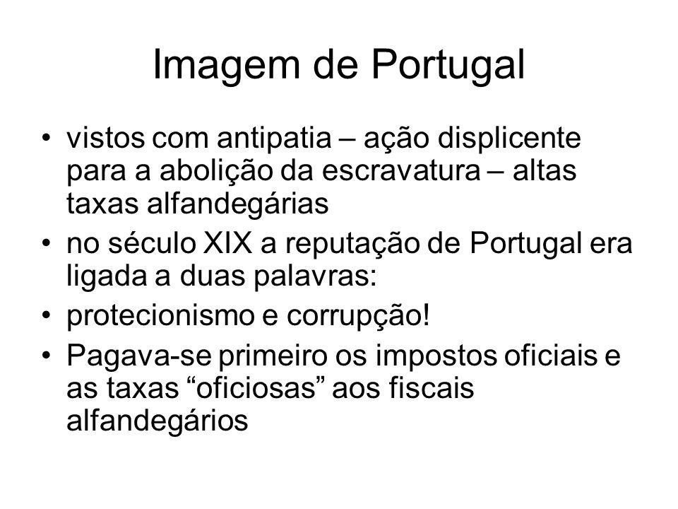 Imagem de Portugal vistos com antipatia – ação displicente para a abolição da escravatura – altas taxas alfandegárias no século XIX a reputação de Por