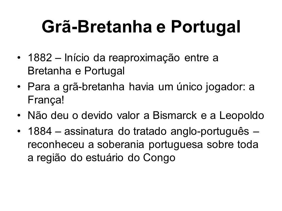 Grã-Bretanha e Portugal 1882 – Início da reaproximação entre a Bretanha e Portugal Para a grã-bretanha havia um único jogador: a França! Não deu o dev