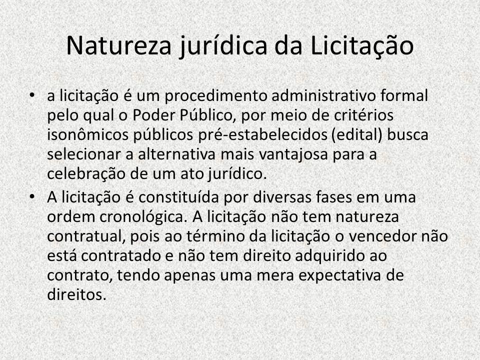 Natureza jurídica da Licitação a licitação é um procedimento administrativo formal pelo qual o Poder Público, por meio de critérios isonômicos público
