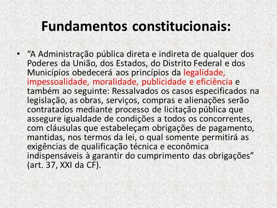 Fundamentos constitucionais: A Administração pública direta e indireta de qualquer dos Poderes da União, dos Estados, do Distrito Federal e dos Municí