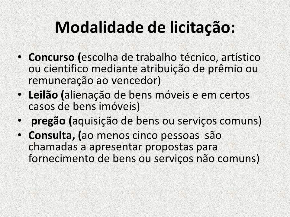 Concurso (escolha de trabalho técnico, artístico ou cientifico mediante atribuição de prêmio ou remuneração ao vencedor) Leilão (alienação de bens móv