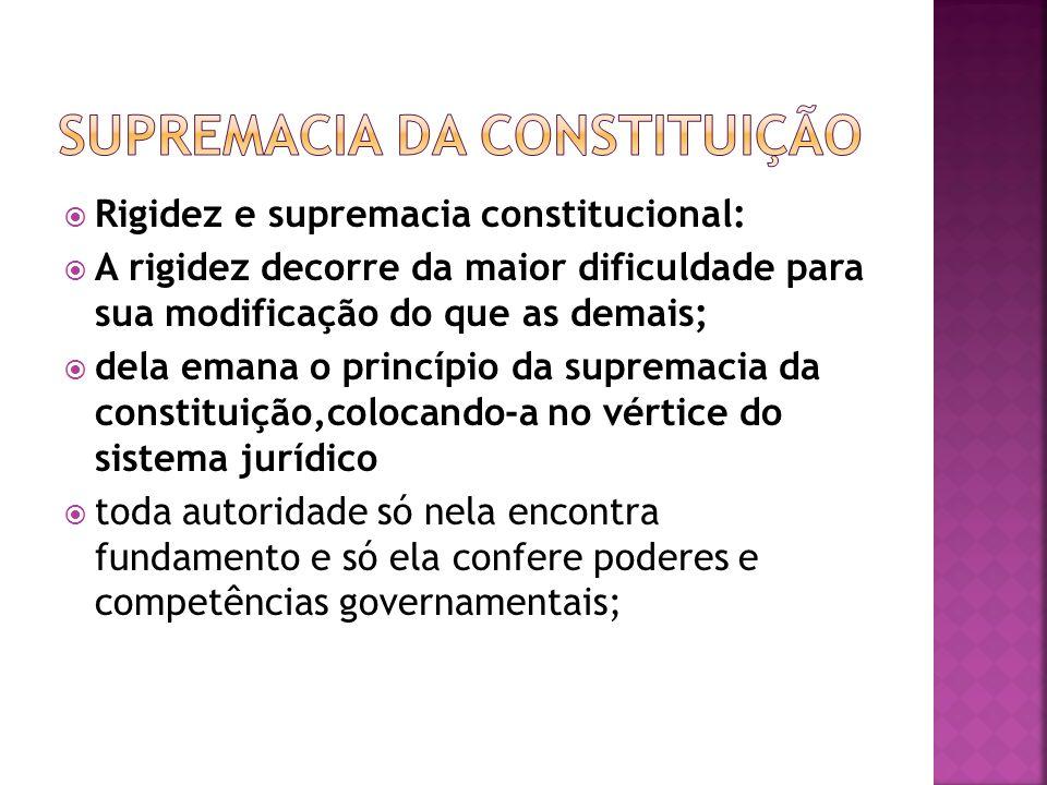 Rigidez e supremacia constitucional: A rigidez decorre da maior dificuldade para sua modificação do que as demais; dela emana o princípio da supremaci