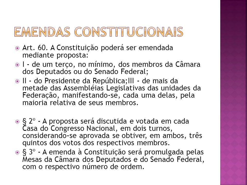 Núcleo imutável da CF: § 4º - Não será objeto de deliberação a proposta de emenda tendente a abolir: I - a forma federativa de Estado; II - o voto direto, secreto, universal e periódico; III - a separação dos Poderes; IV - os direitos e garantias individuais.