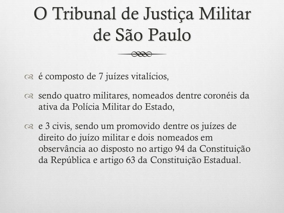 O Tribunal de Justiça Militar de São Paulo é composto de 7 juízes vitalícios, sendo quatro militares, nomeados dentre coronéis da ativa da Polícia Mil