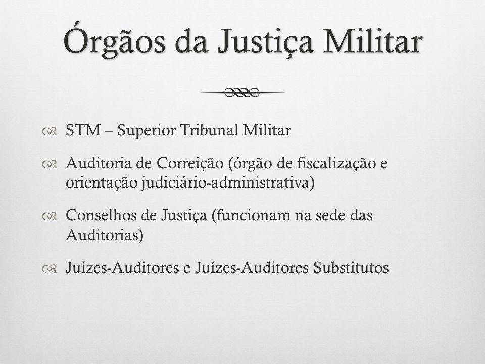 Órgãos da Justiça Militar STM – Superior Tribunal Militar Auditoria de Correição (órgão de fiscalização e orientação judiciário-administrativa) Consel