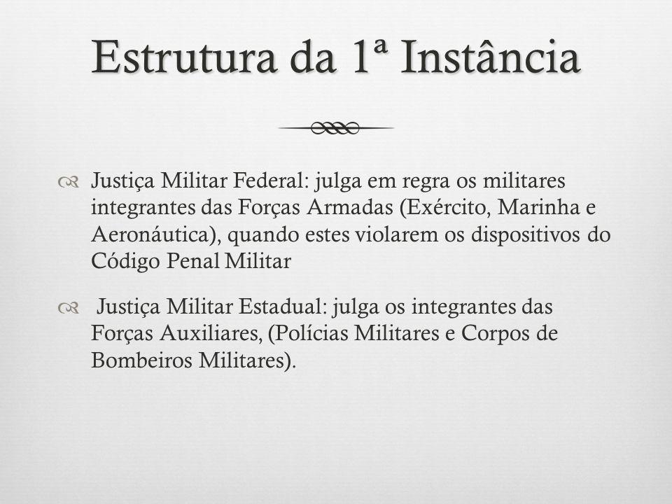 Estrutura da 1ª Instância Justiça Militar Federal: julga em regra os militares integrantes das Forças Armadas (Exército, Marinha e Aeronáutica), quand