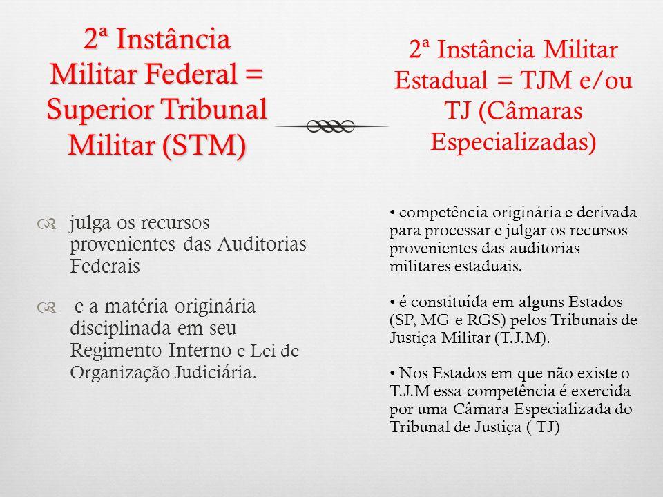 2ª Instância Militar Federal = Superior Tribunal Militar (STM) julga os recursos provenientes das Auditorias Federais e a matéria originária disciplin