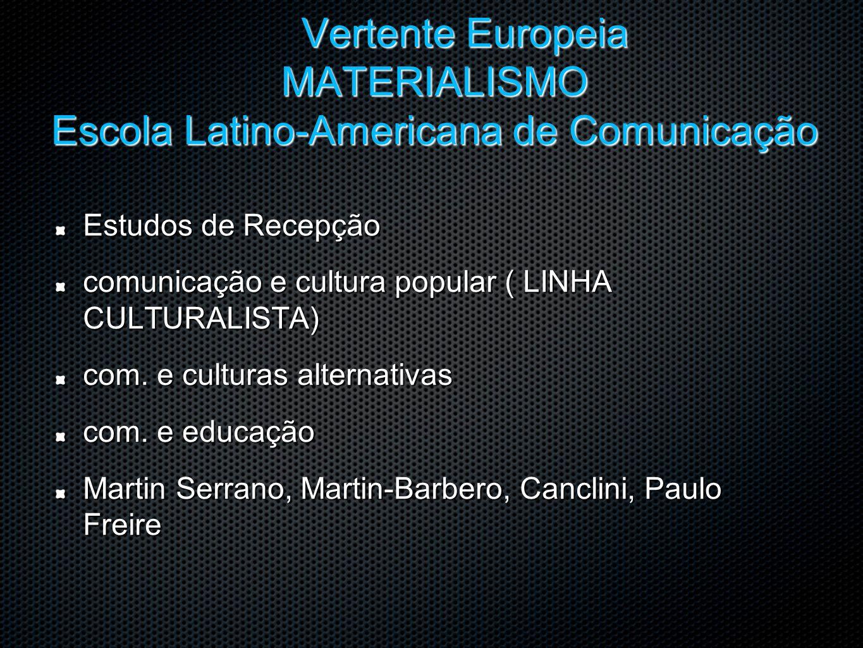 Vertente Europeia MATERIALISMO Escola Latino-Americana de Comunicação Estudos de Recepção comunicação e cultura popular ( LINHA CULTURALISTA) com. e c