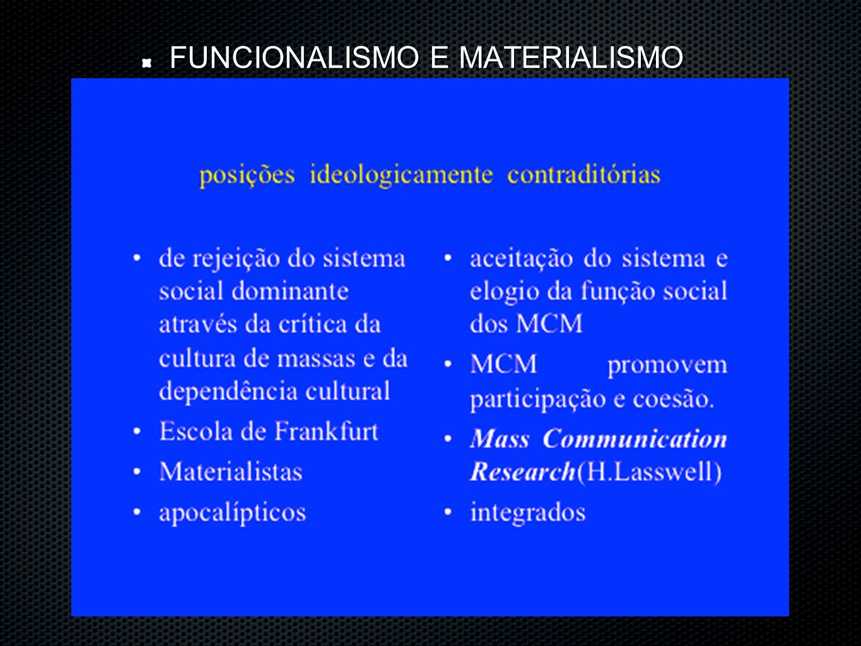 FUNCIONALISMO E MATERIALISMO