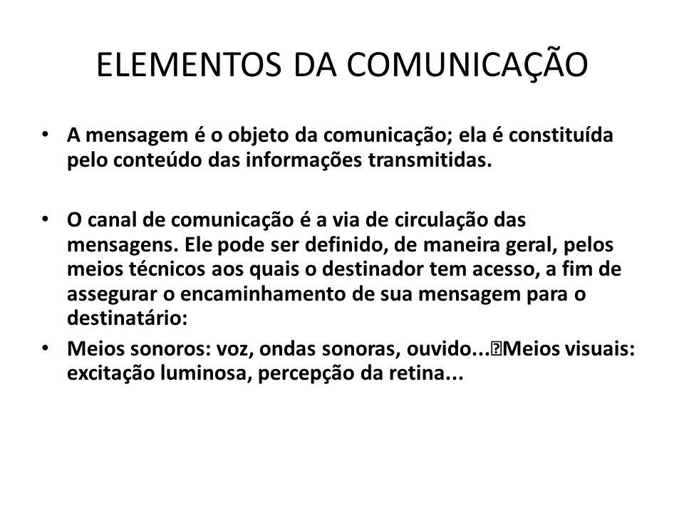ELEMENTOS DA COMUNICAÇÃO A mensagem é o objeto da comunicação; ela é constituída pelo conteúdo das informações transmitidas.