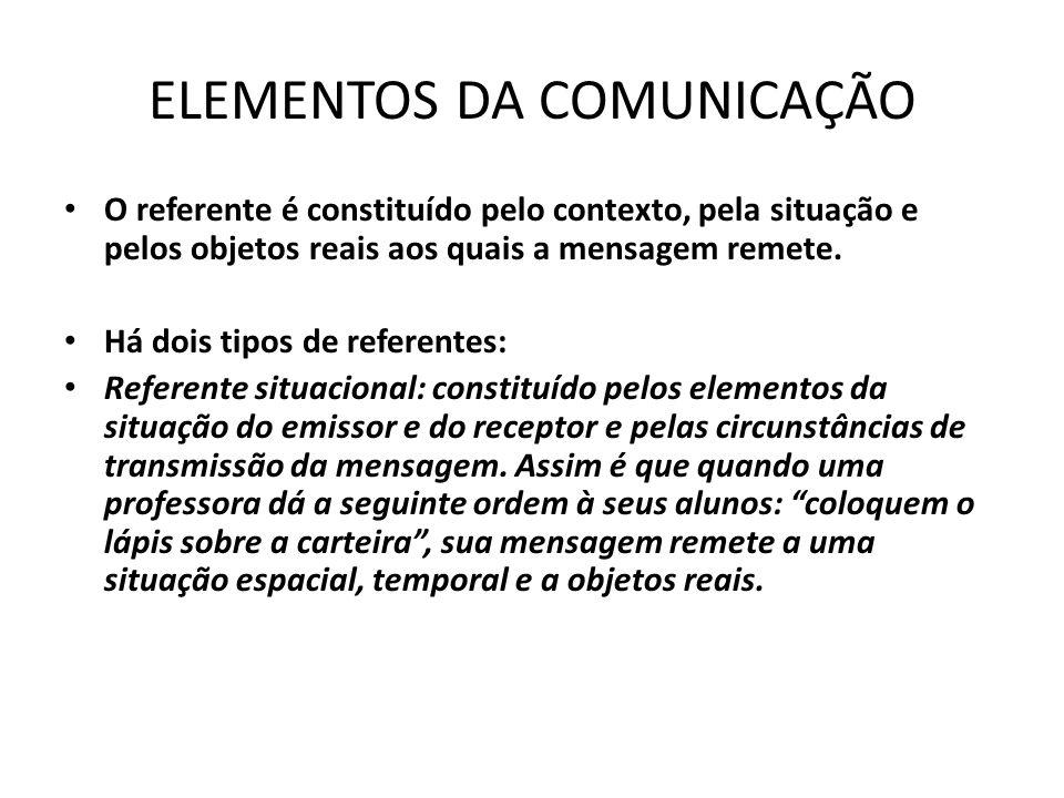 ELEMENTOS DA COMUNICAÇÃO O referente é constituído pelo contexto, pela situação e pelos objetos reais aos quais a mensagem remete.
