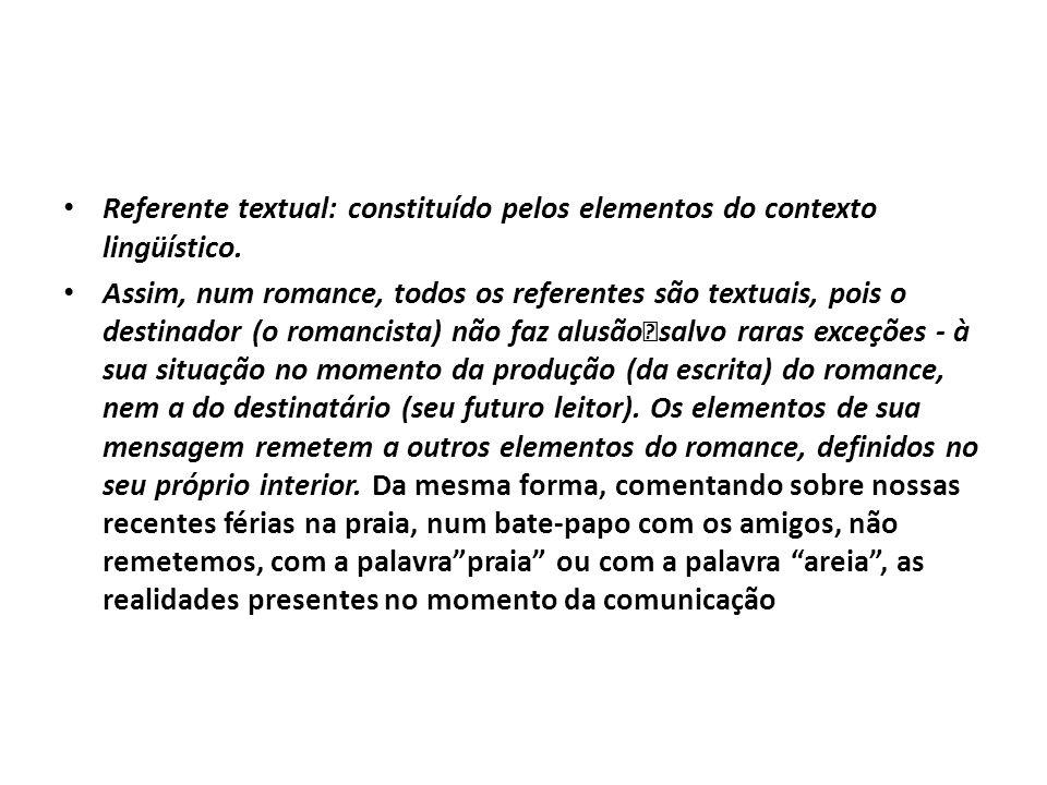 Referente textual: constituído pelos elementos do contexto lingüístico.