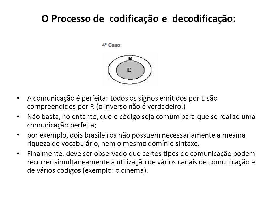 O Processo de codificação e decodificação: A comunicação é perfeita: todos os signos emitidos por E são compreendidos por R (o inverso não é verdadeiro.) Não basta, no entanto, que o código seja comum para que se realize uma comunicação perfeita; por exemplo, dois brasileiros não possuem necessariamente a mesma riqueza de vocabulário, nem o mesmo domínio sintaxe.
