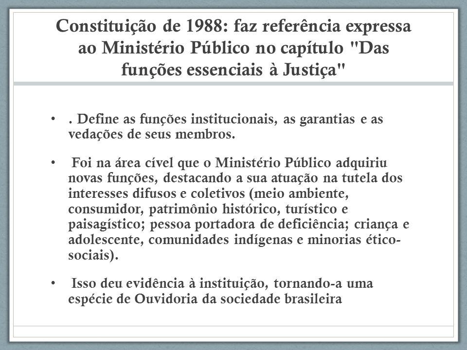 Constituição de 1988: faz referência expressa ao Ministério Público no capítulo Das funções essenciais à Justiça .